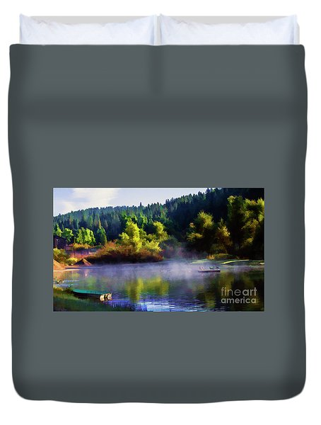 Blue Lake Spring Misty Geese  Duvet Cover