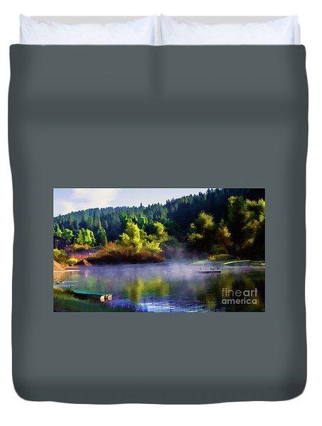 Blue Lake Spring Misty Geese  Duvet Cover