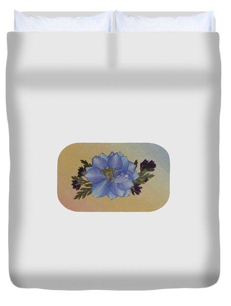 Blue Larkspur And Oregano Pressed Flower Arrangement Duvet Cover