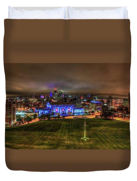 Blue Lights On Kansas City Union Station Kansas City Missouri Art Duvet Cover