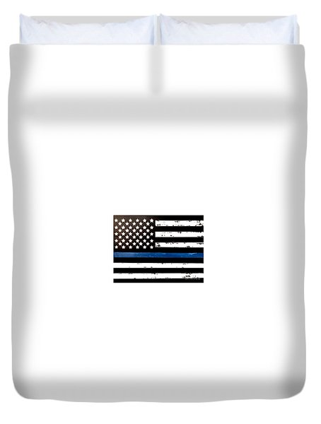 Duvet Cover featuring the painting Blue Line Flag by Denise Tomasura