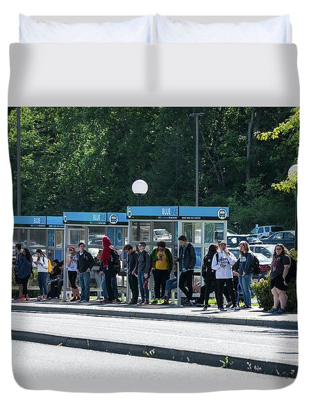 Blue Line On Campus Duvet Cover