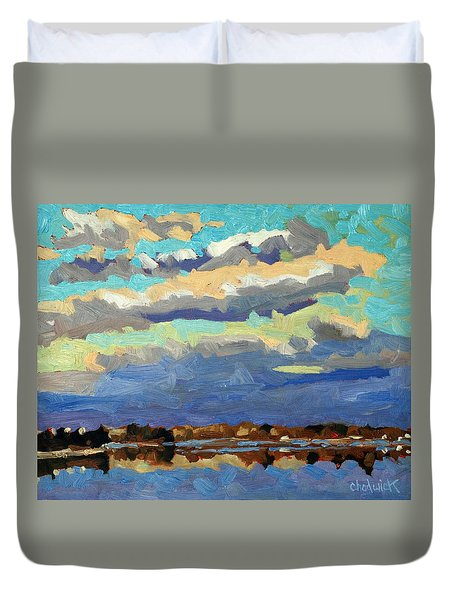 Blue Line Duvet Cover by Phil Chadwick