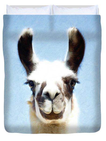 Blue Llama Duvet Cover