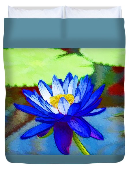 Blue Lotus Flower Duvet Cover by Lanjee Chee