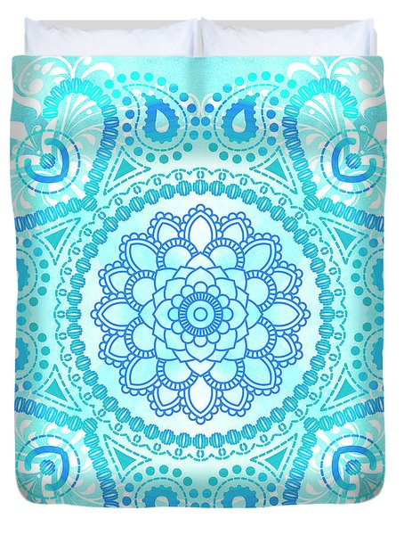 Duvet Cover featuring the painting Blue Lotus Mandala by Tammy Wetzel