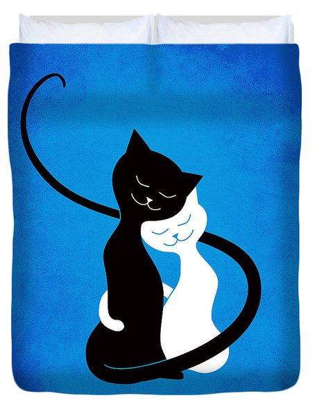 Blue Love Cats Duvet Cover