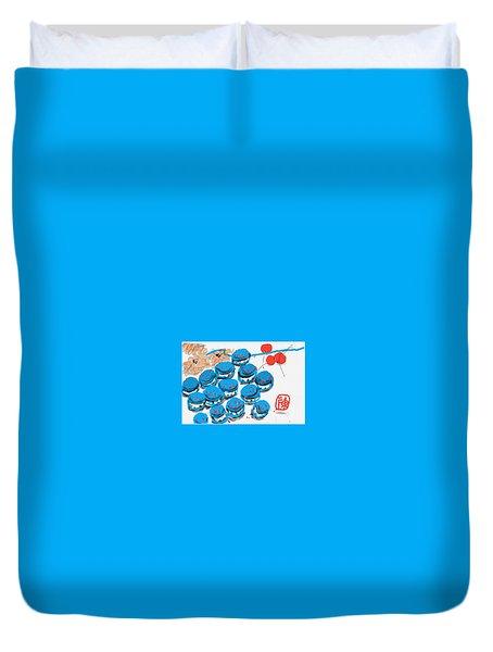 blue Macaroons for golden gal Duvet Cover