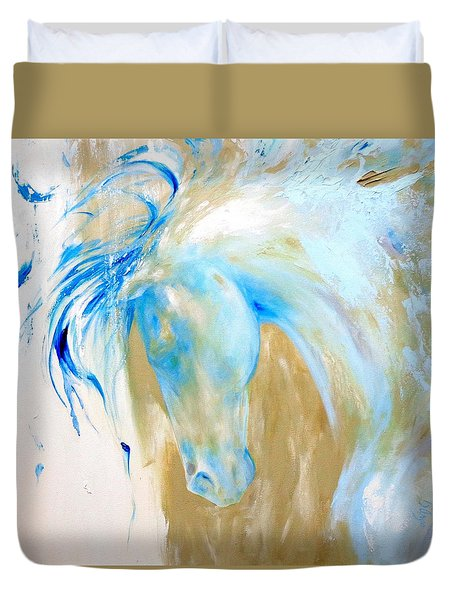 Duvet Cover featuring the painting Blue Mane by Dina Dargo