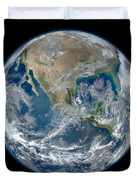 Duvet Cover featuring the photograph Blue Marble 2012 Planet Earth by Nikki Marie Smith