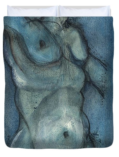 Duvet Cover featuring the painting Blue Marvel, Superhero - Male Nude by Carolyn Weltman