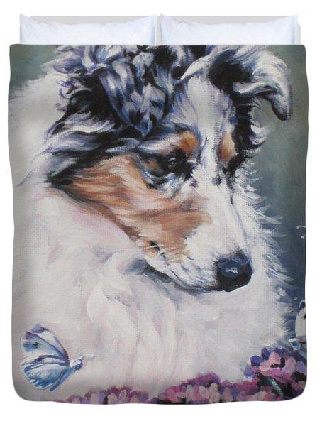 Blue Merle Collie Pup Duvet Cover by Lee Ann Shepard