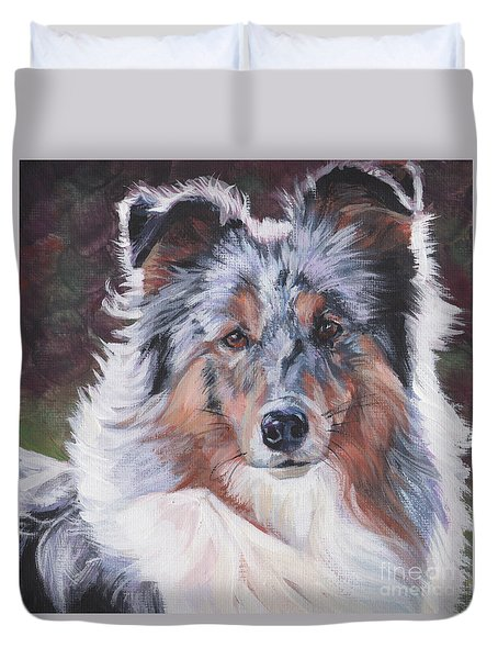 Duvet Cover featuring the painting Blue Merle Sheltie by Lee Ann Shepard