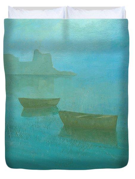 Blue Mist At Erbalunga Duvet Cover