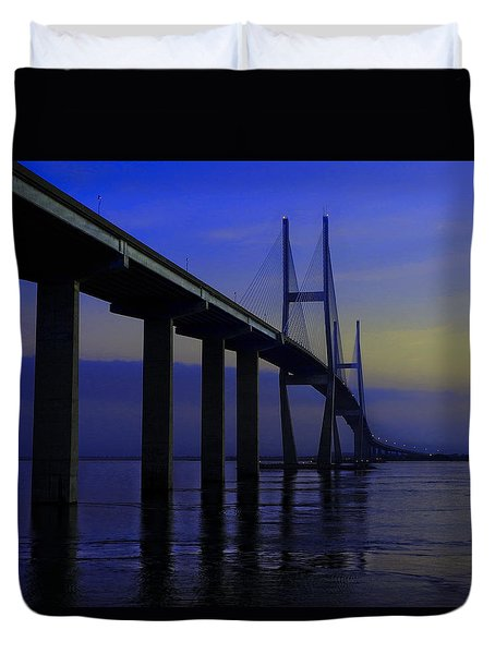 Blue Mood Bridge Duvet Cover by Laura Ragland