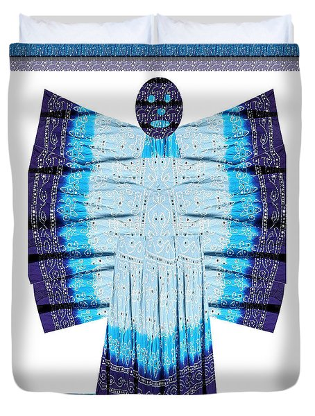 Blue Moon Butterfly Womens Fashion Couture From Jaipur India Cotton Printed Fabric With Embroidary W Duvet Cover