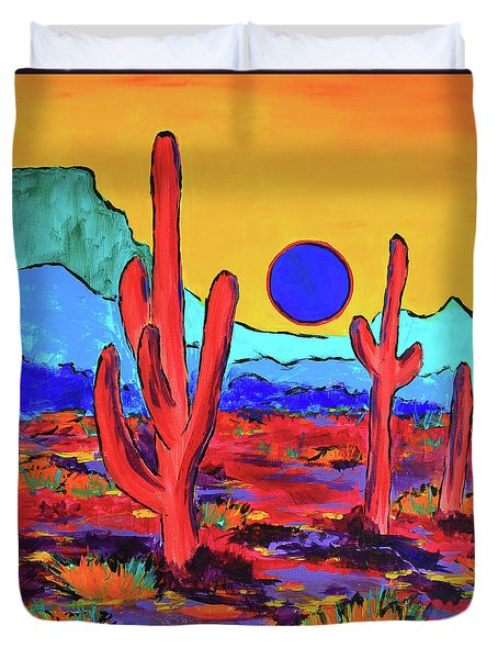 Duvet Cover featuring the painting Blue Moon by Jeanette French
