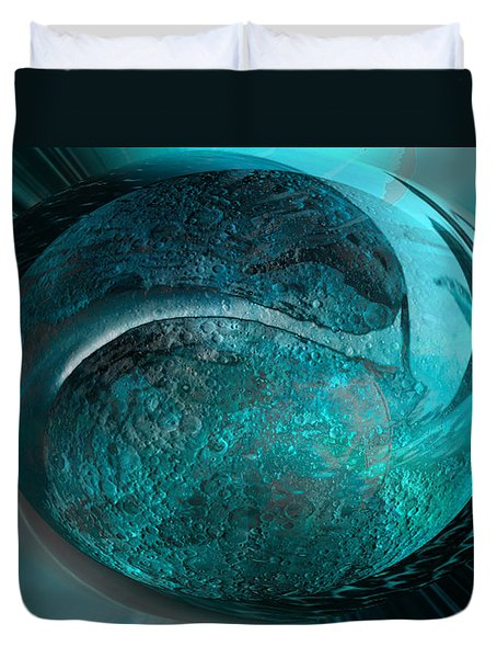 Duvet Cover featuring the digital art Blue Moon by Kevin Caudill