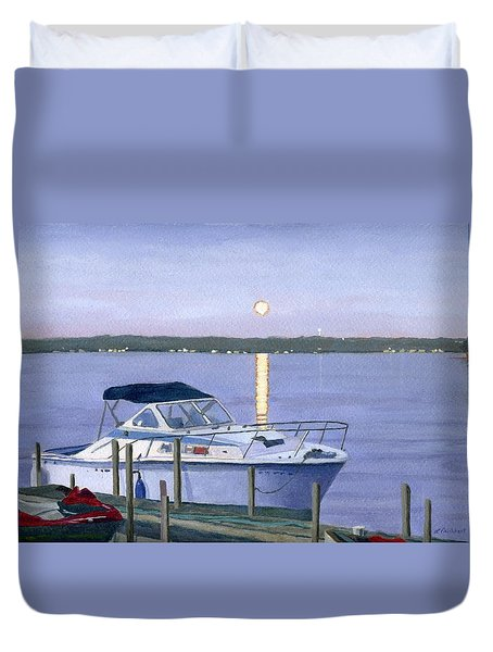 Duvet Cover featuring the painting Blue Moon by Lynne Reichhart