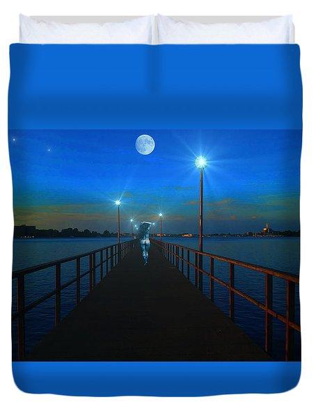 Duvet Cover featuring the digital art Blue Moon by Michael Rucker