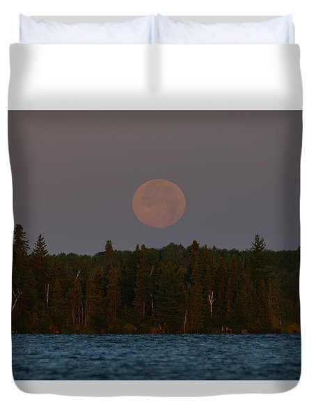 Blue Moon Over Berry Lake Duvet Cover by Steven Clipperton
