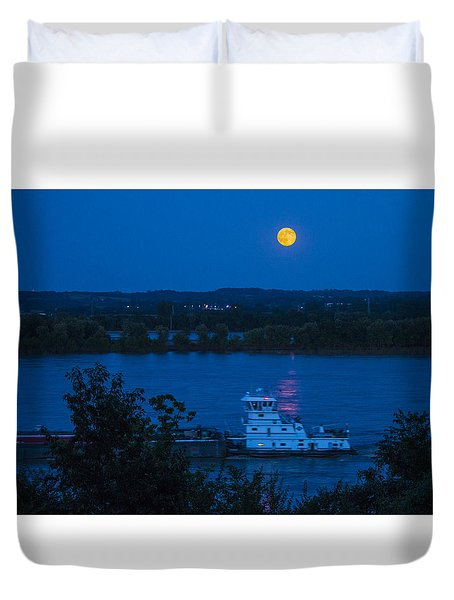 Blue Moon Over The Mississippi River Duvet Cover