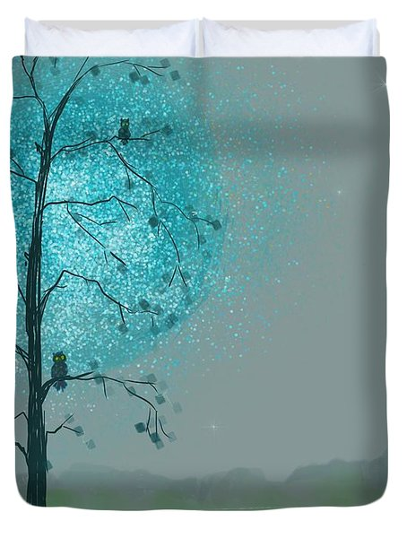 Blue Moon Owls Duvet Cover