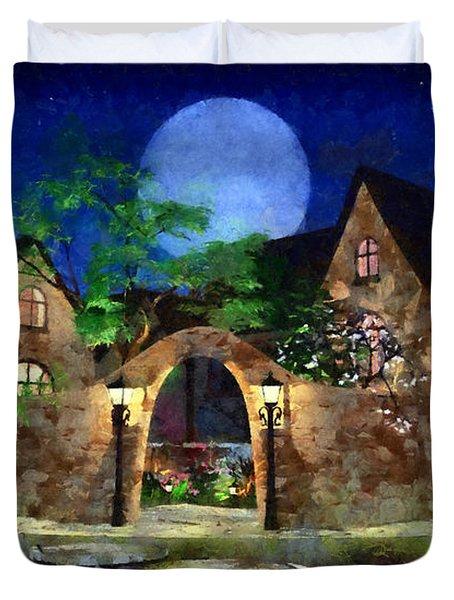 Blue Moon Painted Duvet Cover