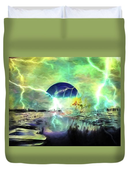 Duvet Cover featuring the photograph Blue Moon by Richard Ricci