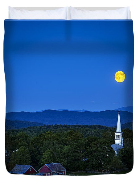 Blue Moon Rising Over Church Steeple Duvet Cover