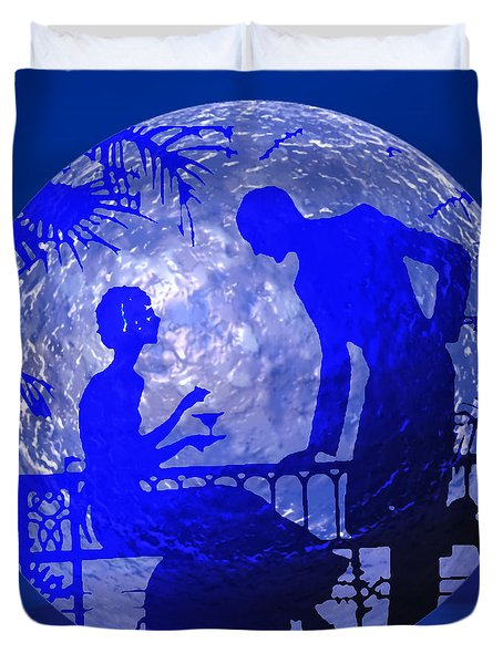 Blue Moonlight Lovers Duvet Cover