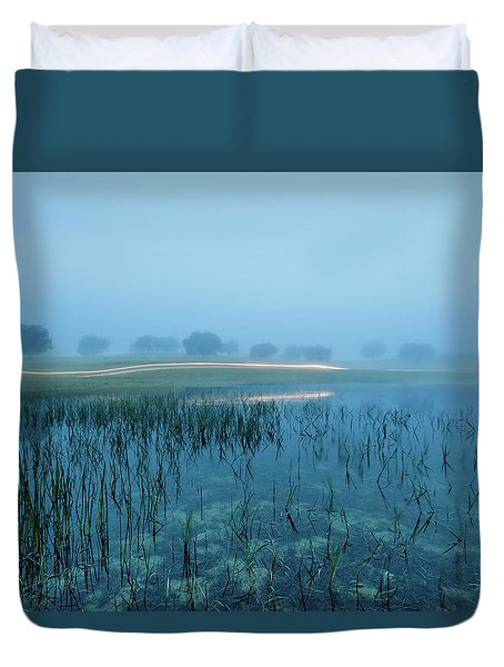 Duvet Cover featuring the photograph Blue Morning Flash by Jorge Maia