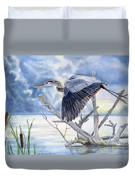 Blue Morning Flight Duvet Cover