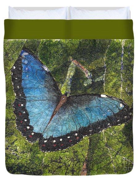 Blue Morpho Butterfly Batik Duvet Cover