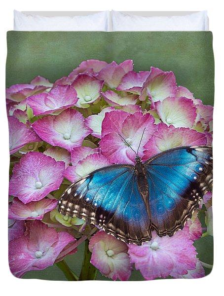 Blue Morpho Butterfly On Pink Hydrangea Duvet Cover