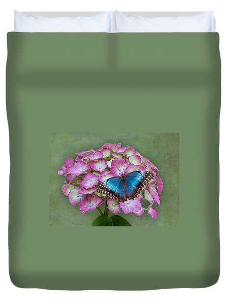 Blue Morpho Butterfly On Pink Hydrangea Duvet Cover