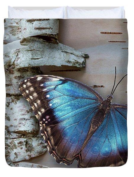 Blue Morpho Butterfly On White Birch Bark Duvet Cover