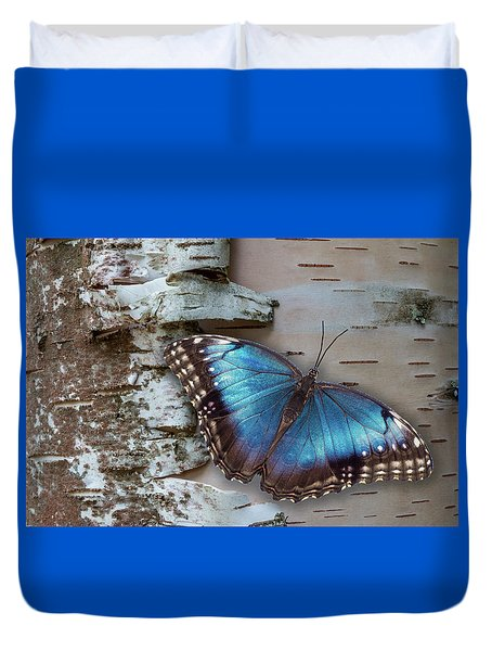 Duvet Cover featuring the photograph Blue Morpho Butterfly On White Birch Bark by Patti Deters