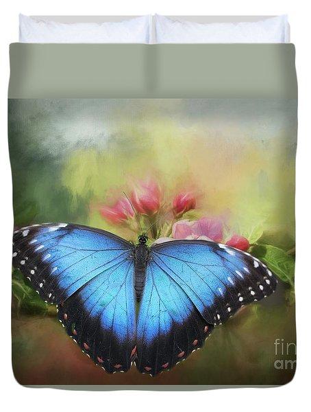 Blue Morpho On A Blossom Duvet Cover