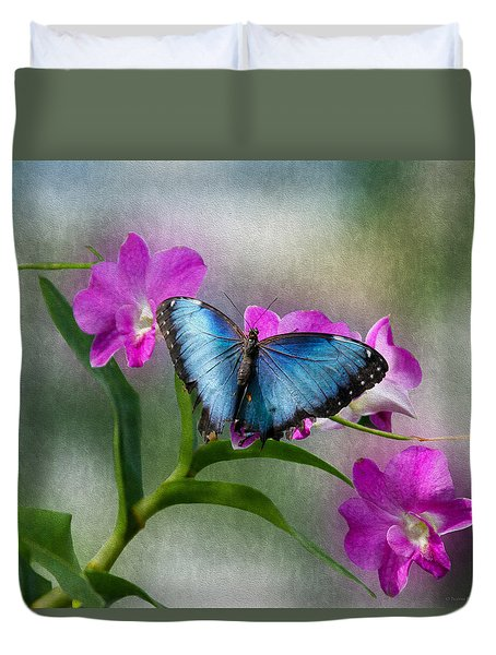 Blue Morpho With Orchids Duvet Cover