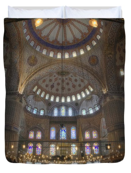 Blue Mosque Interior Duvet Cover by Joan Carroll