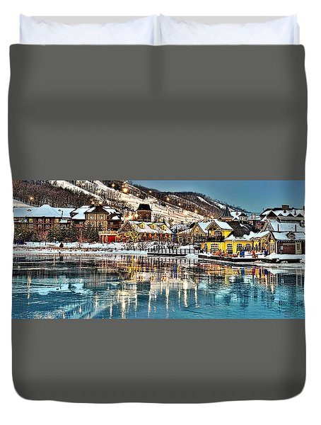 Blue Mountain Ice Reflection Duvet Cover