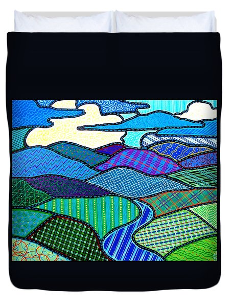 Duvet Cover featuring the painting Blue Mountain Landscape by Jim Harris