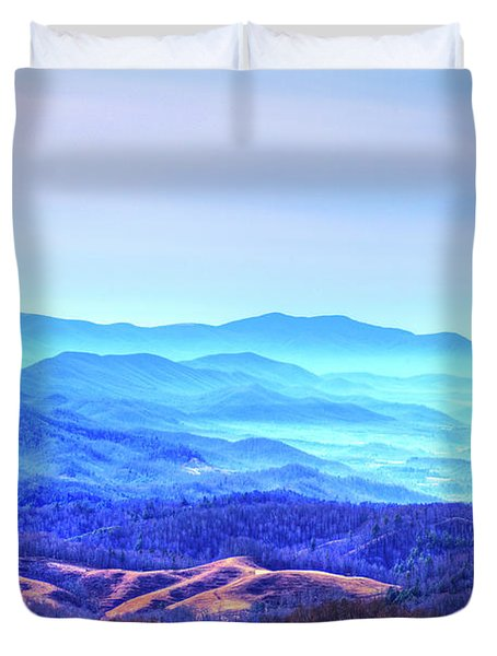 Blue Mountain Mist Duvet Cover by Dale R Carlson