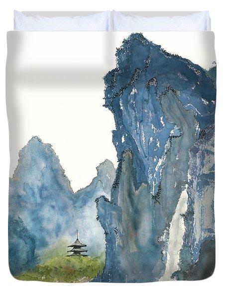 Blue Mountain Morning Duvet Cover