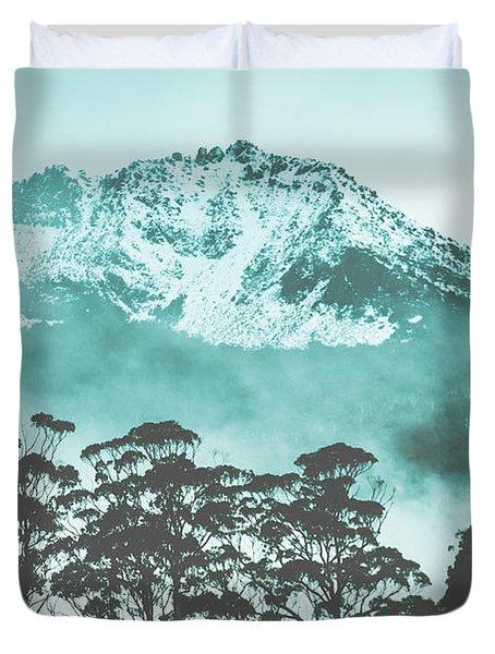 Blue Mountain Winter Landscape Duvet Cover