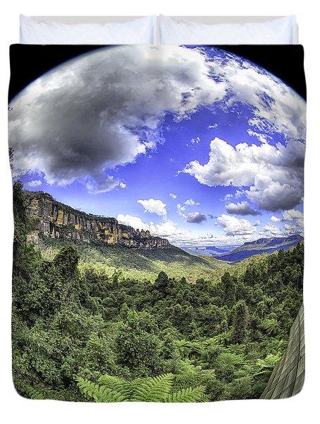 Blue Mountains Fisheye Duvet Cover