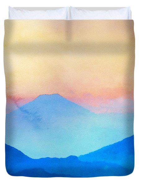 Blue Mountains Watercolour Duvet Cover