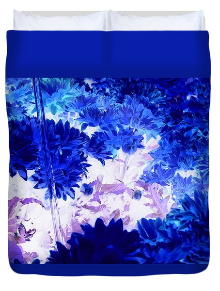 Blue Mums And Water Duvet Cover