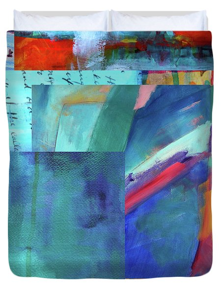 Blue Music Abstract Art Duvet Cover by Nancy Merkle
